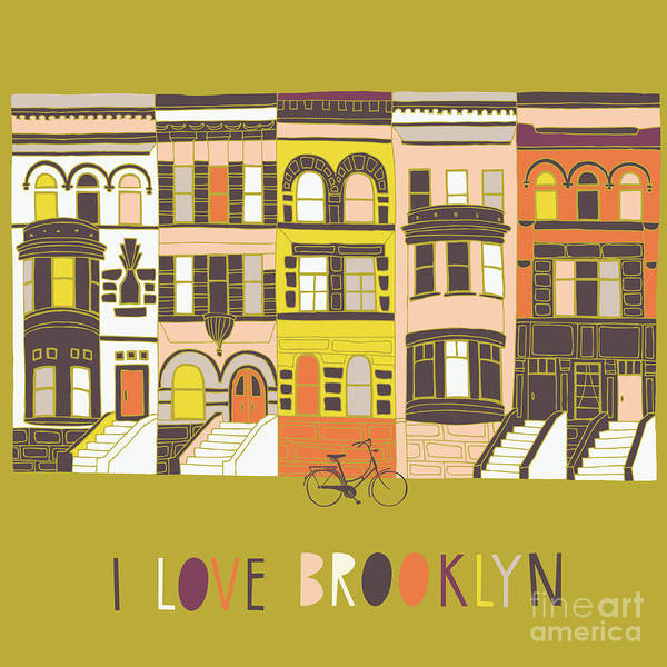 Wall Art - Digital Art - I Love Brooklyn Print Design by Lavandaart