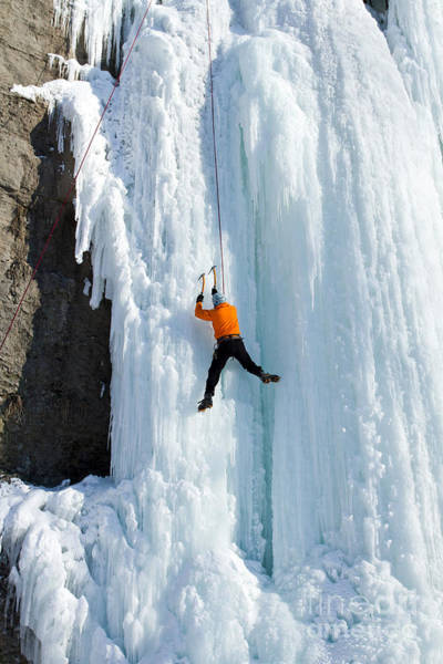 Wall Art - Photograph - Ice Climbing The Waterfall by Vitalii Nesterchuk