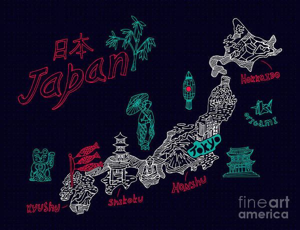 Wall Art - Digital Art - Illustrated Map Of Japan by Daria i