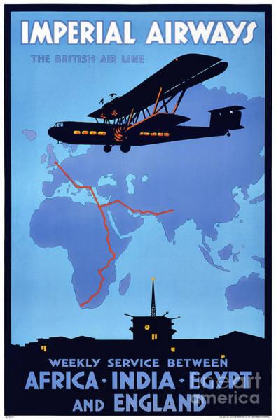 Wall Art - Drawing - Imperial Airways Vintage Advertising Poster Restored by Vintage Treasure