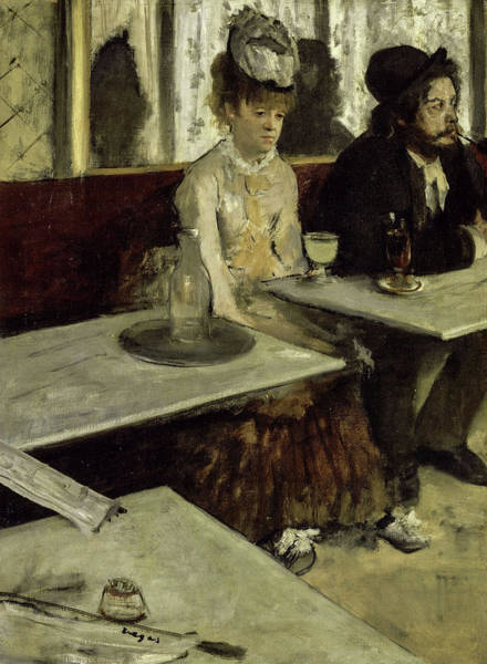 Alcoholism Painting - In A Cafe, 1873 by Edgar Degas