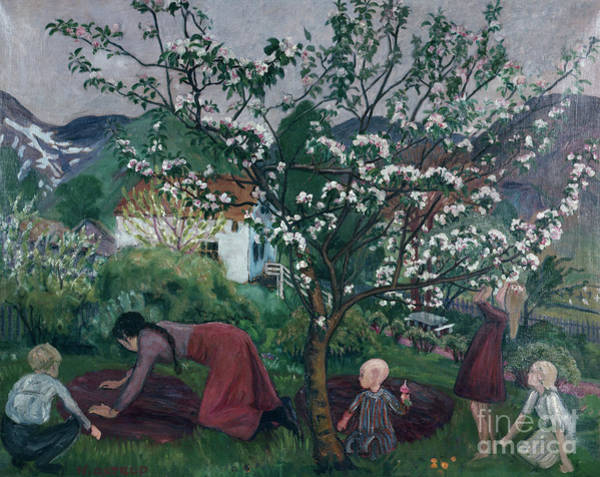 Nikolai Astrup Painting - In The Garden  by O Vaering