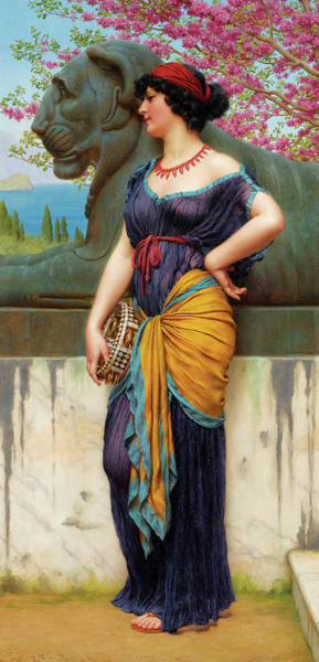 Yellow Ribbon Painting - In The Grove Of The Temple Of Isis by John William Godward