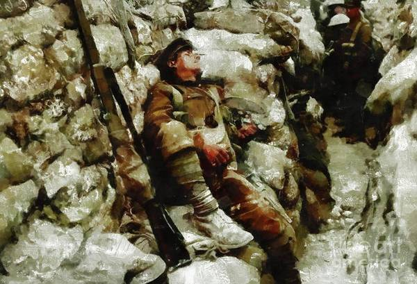 Dday Wall Art - Painting - In The Trenches, Wwi by Mary Bassett