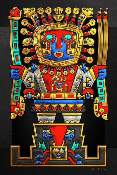 God Wall Art - Photograph - Incan Gods - The Great Creator Viracocha On Black Canvas by Serge Averbukh