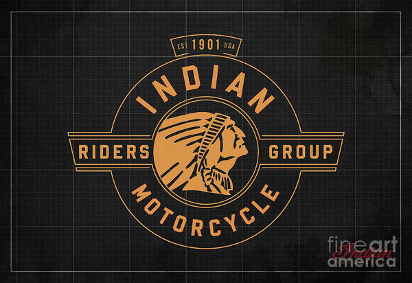 Wall Art - Digital Art - Indian Motorcycle Old Vintage Logo Dark Grey Background by Drawspots Illustrations