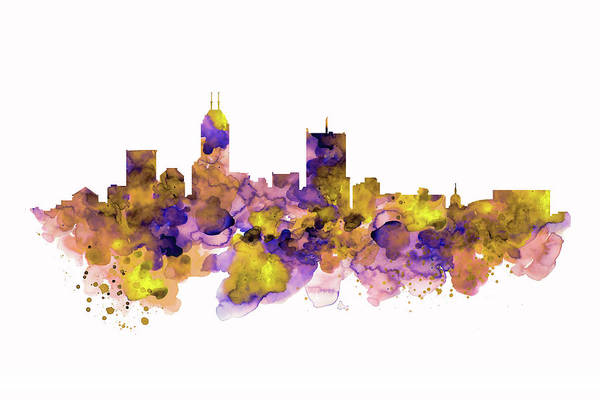 Wall Art - Painting - Indianapolis Skyline Silhouette by Marian Voicu