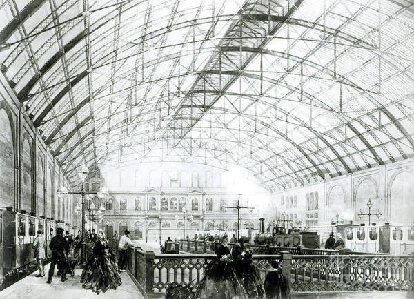 Wall Art - Drawing - Interior Of Charing Cross Station, Engraved By The Kell Brothers by English School