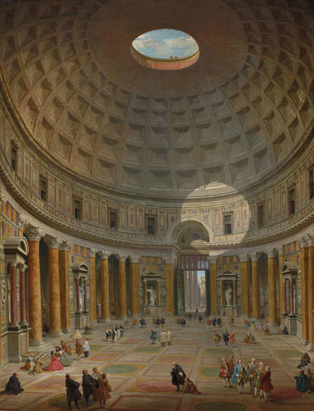 Portico Painting - Interior Of The Pantheon, Rome, 1747 by Giovanni Paolo Panini