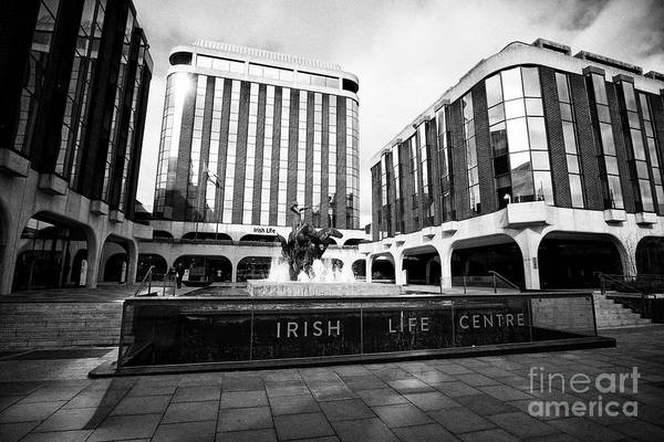 Wall Art - Photograph - Irish Life Centre With Chariot Of Life Sculpture And Fountain Dublin Republic Of Ireland Europe by Joe Fox