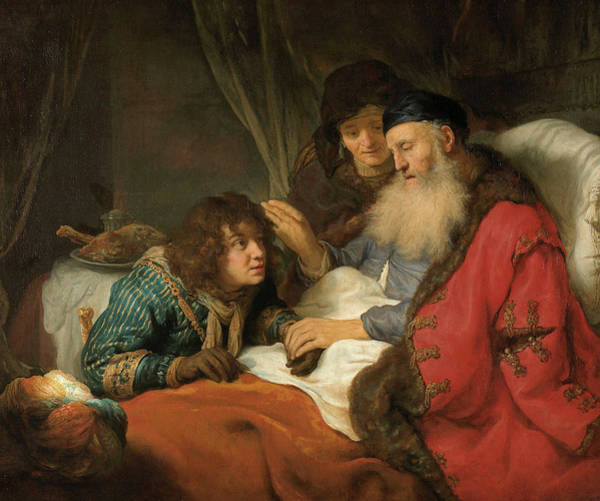 Wall Art - Painting - Isaac Blessing Jacob, 1638 by Govert Flinck