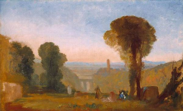 Wall Art - Painting - Italian Landscape With Bridge And Tower  by Joseph Mallord William Turner