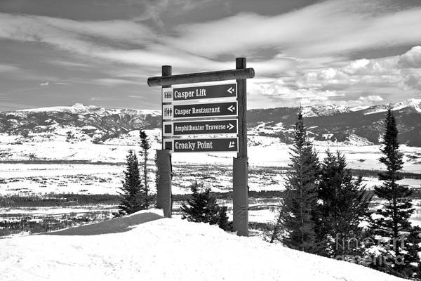 Photograph - Jackson Hole Trail Signs Black And White by Adam Jewell
