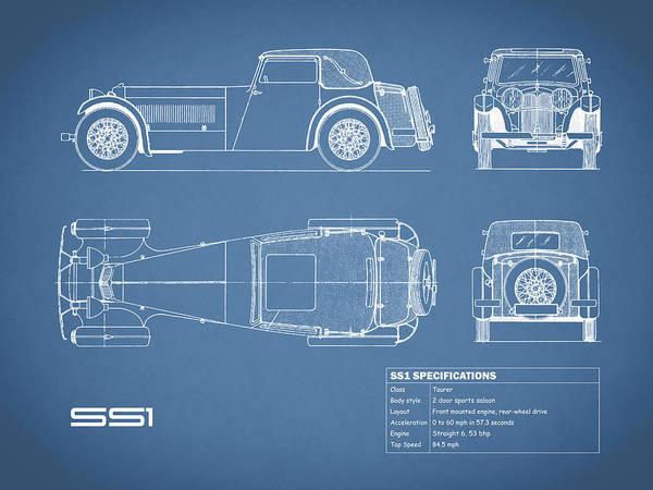 Wall Art - Photograph - Jaguar Ss1 Blueprint by Mark Rogan