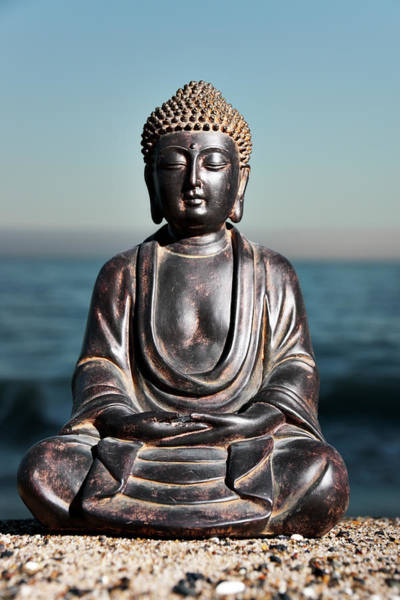 Wall Art - Photograph - Japanese Buddha Statue At Ocean Shore by Wesvandinter