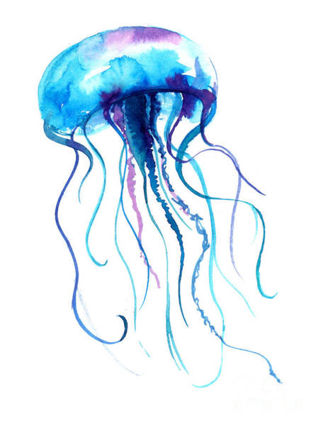 Wall Art - Digital Art - Jellyfish Watercolor Illustration by Anna Kutukova