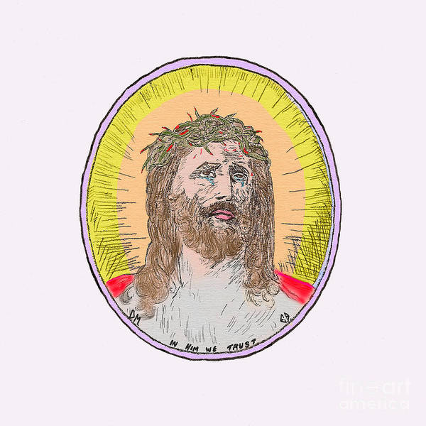 Painting - Jesus On White Tinge Pink by Donna L Munro