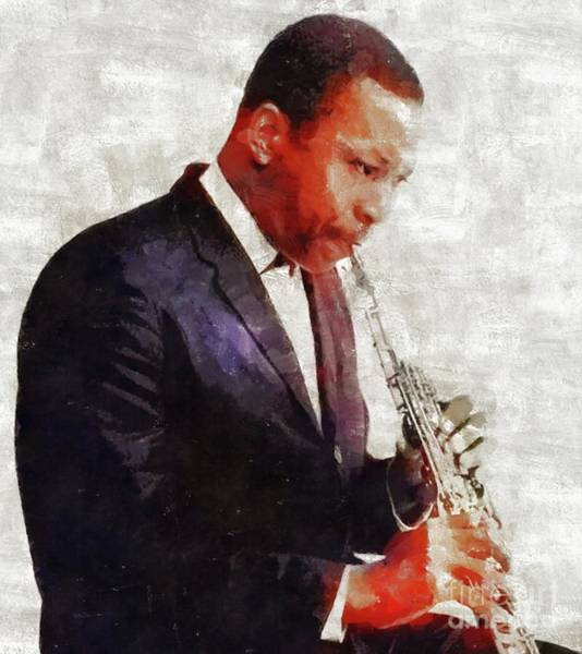 Wall Art - Painting - John Coltrane, Music Legend by Mary Bassett