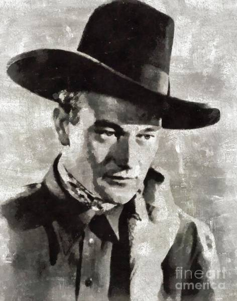 Wall Art - Painting - John Wayne, Vintage Movie Star by Mary Bassett