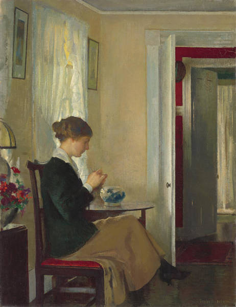 Sewer Painting - Josephine Knitting by Edmund Charles Tarbell