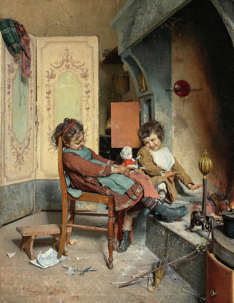 Wall Art - Painting - Joys Of Childhood by Gaetano Chierici