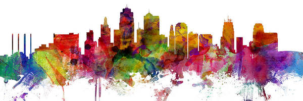 Wall Art - Digital Art - Kansas City Missouri Skyline Panoramic by Michael Tompsett