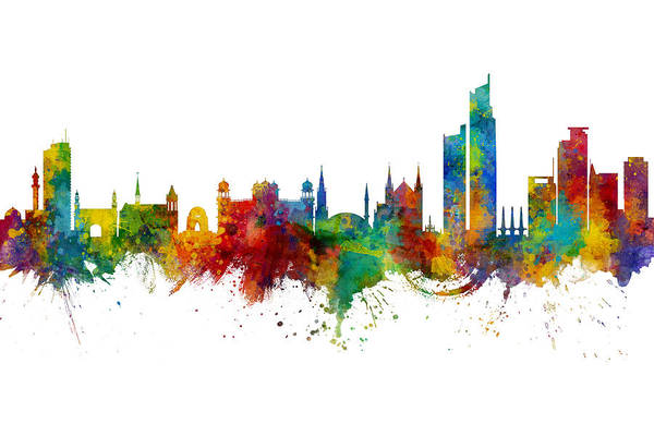 Wall Art - Digital Art - Karachi Pakistan Skyline by Michael Tompsett