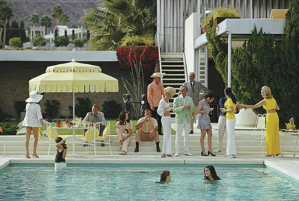 Group Of People Photograph - Kaufmann Desert House by Slim Aarons