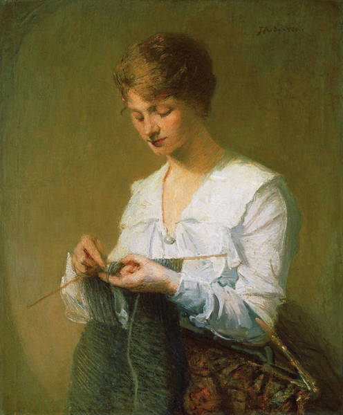Sewer Painting - Knitting For Soldiers by Julian Alden Weir
