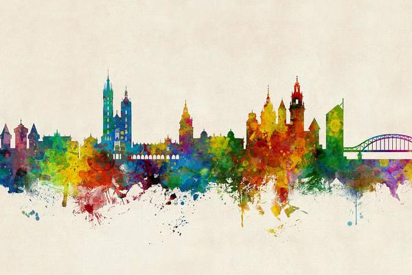 Digital Art - Krakow Poland Skyline by Michael Tompsett
