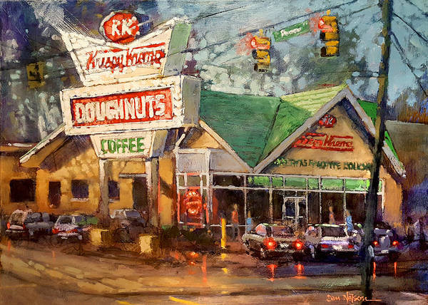 Wall Art - Painting - Krispy Kreme Evening by Dan Nelson