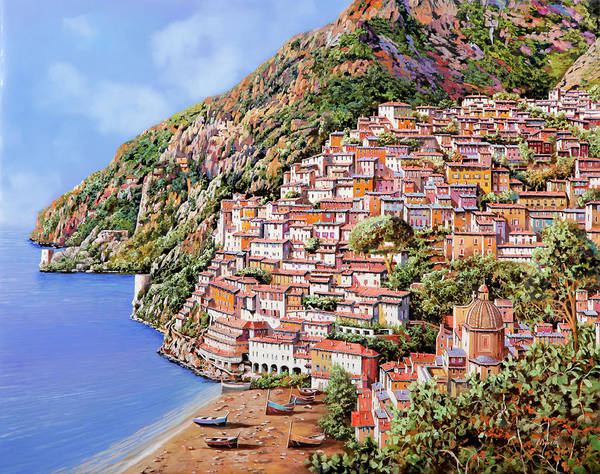 Wall Art - Painting - la spiaggia di Positano by Guido Borelli