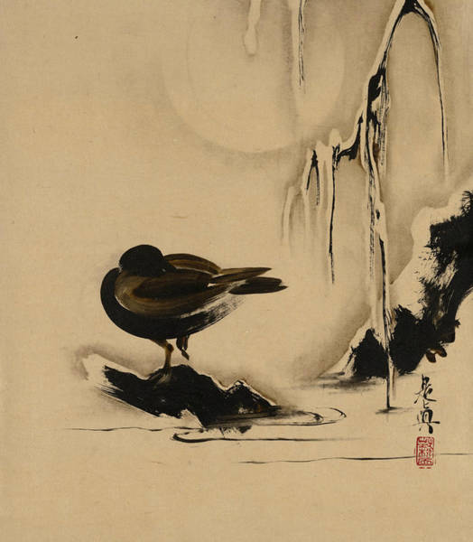 Painting - Lacquer Paintings Of Various Subjects - Bird And Willow In Snow by Shibata Zeshin