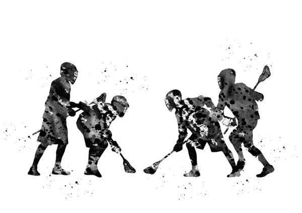 Wall Art - Digital Art - Lacrosse Players by Erzebet S