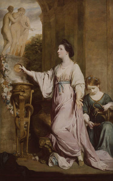 Wall Art - Painting - Lady Sarah Bunbury Sacrificing To The Graces by Joshua Reynolds