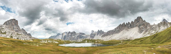 Wall Art - Photograph - Lago Dei Piani At The Three Peaks Cottage Paternkofel On The Right Schusterplatte And by imageBROKER - Mara Brandl