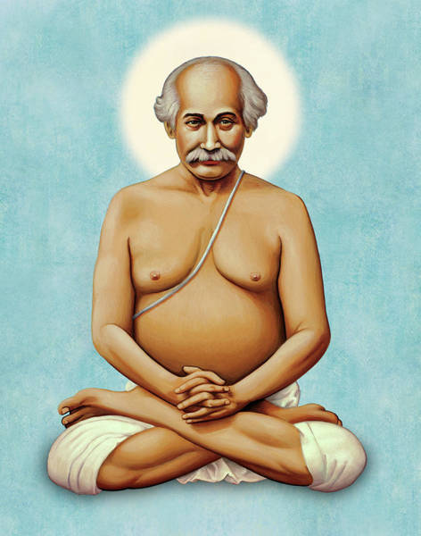 Painting - Lahiri Mahasaya On Blue by Sacred Visions