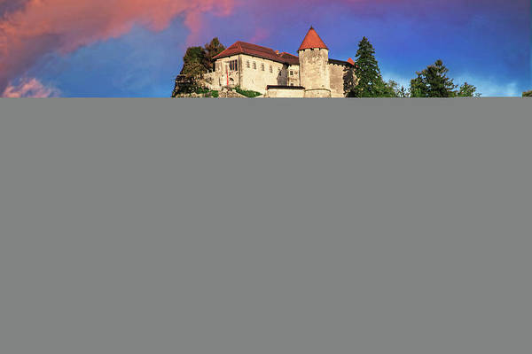 Wall Art - Photograph - Lake Bled Castle Rises On Cliffs by Miva Stock