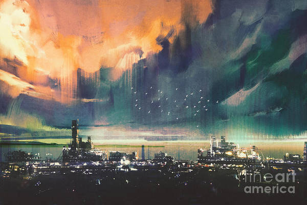 Town Digital Art - Landscape Digital Painting Of Sci-fi by Tithi Luadthong