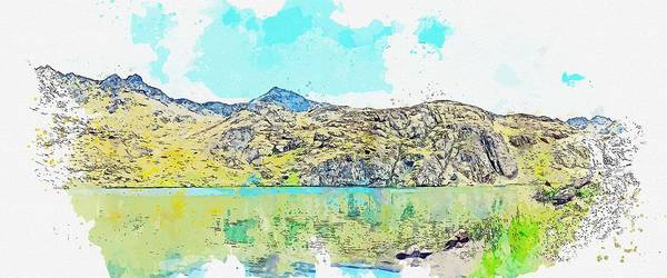 Painting - Landscape Mountain Kackars Highland Clouds Green Watercolor By Ahmet Asar by Ahmet Asar