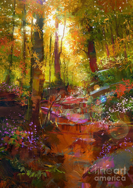 Wall Art - Digital Art - Landscape Painting Of Beautiful Autumn by Tithi Luadthong