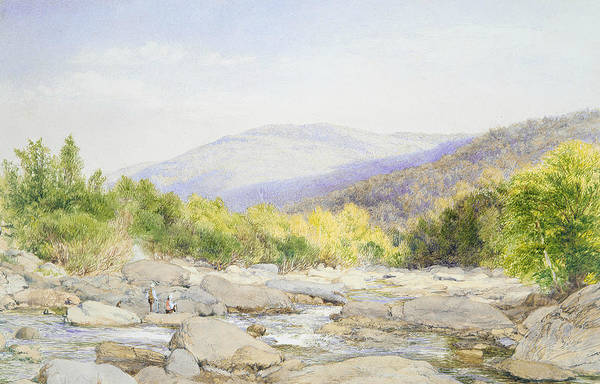Wall Art - Drawing - Landscape - View On Catskill Creek by John William Hill