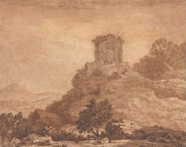 Wall Art - Painting - Landscape With A Ruined Temple  by Alexander Cozens
