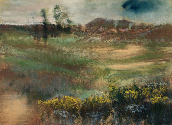 Pastel - Landscape With Smokestacks by Edgar Degas