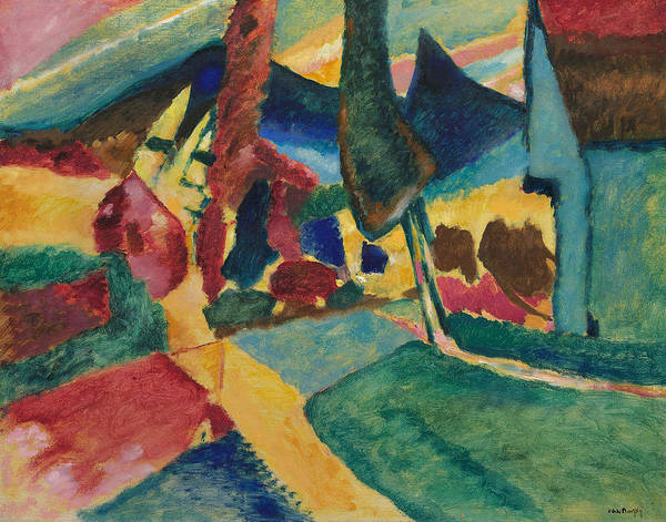 Wall Art - Painting - Landscape With Two Poplars by Wassily Kandinsky