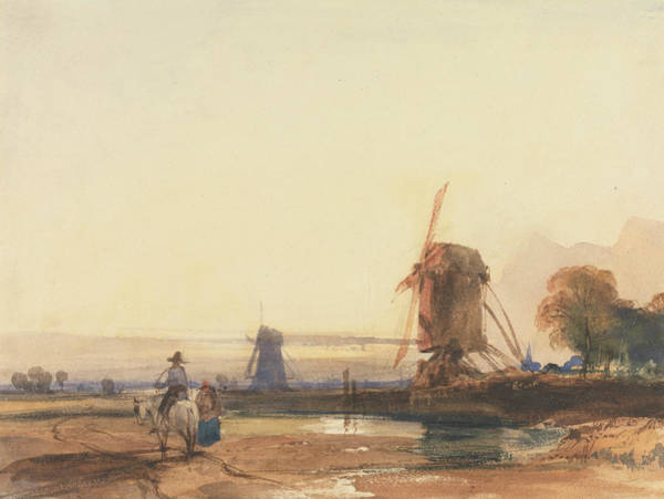 Drawing - Landscape With Windmills by Thomas Shotter Boys