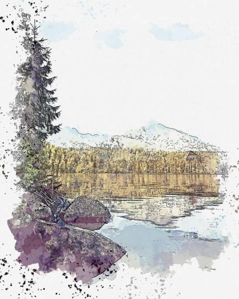 Painting - Lanke Landscape 75 -  Watercolor By Ahmet Asar by Ahmet Asar