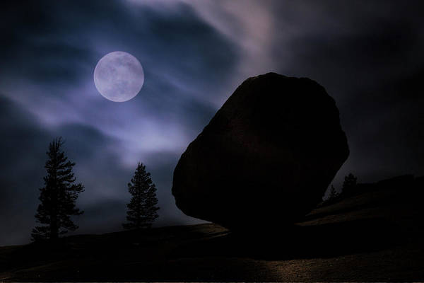 Wall Art - Photograph - Large Boulder Silhouetted By Moonlight by Adam Jones