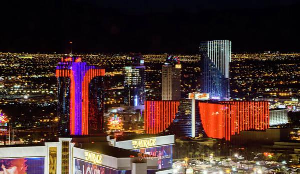 Photograph - Las Vegas Skyline At Sunset - The Strip - Aerial View Of Las Veg by Alex Grichenko