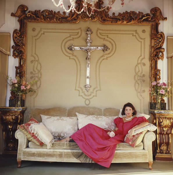 Red Dress Photograph - Laura Cristiana Cibrario by Slim Aarons